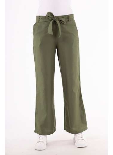 Stamina  Bayan Beli Lastikli Geniş Paça Pantolon-5PN01 Haki